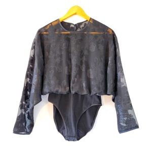 Natori Semi Sheer Long Sleeve Bodysuit Black M.